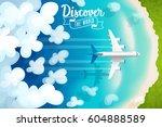 passenger plane flying above... | Shutterstock .eps vector #604888589