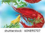 shrimp on a blue transparent... | Shutterstock .eps vector #604890707