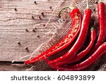 Hot Red Pepper On Sacking And...