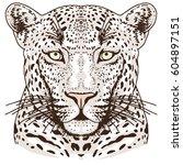 leopard face tattoo  vector... | Shutterstock .eps vector #604897151