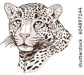leopard face tattoo  vector... | Shutterstock .eps vector #604897244