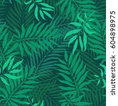 tropical leaves  night jungle.... | Shutterstock .eps vector #604898975