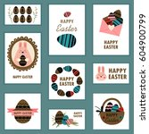 set of happy easter cards and... | Shutterstock .eps vector #604900799