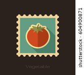 tomato flat stamp. vegetable... | Shutterstock .eps vector #604900871