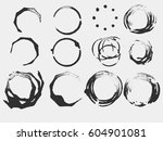 set of black grunge circle... | Shutterstock .eps vector #604901081