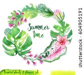 summer hand drawn watercolor... | Shutterstock . vector #604905191