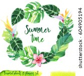 summer hand drawn watercolor... | Shutterstock . vector #604905194