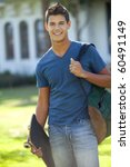 student with skateboard and... | Shutterstock . vector #60491149
