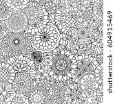 floral linear pattern with... | Shutterstock .eps vector #604915469