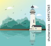 lighthouse on mountains... | Shutterstock .eps vector #604917065