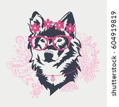 hipster wolf portrait with... | Shutterstock . vector #604919819
