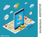 car sharing flat 3d isometric... | Shutterstock .eps vector #604920749