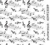 seamless pattern with music... | Shutterstock .eps vector #604923089