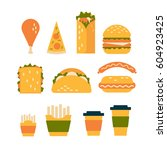 fast food dishes with drinks.... | Shutterstock .eps vector #604923425