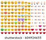 set of cute emoticons. set of... | Shutterstock .eps vector #604924655