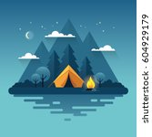 night landscape illustration in ... | Shutterstock .eps vector #604929179