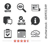 quiz icons. human brain think.... | Shutterstock .eps vector #604931549