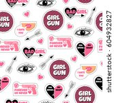 fashion stickers  patches and... | Shutterstock .eps vector #604932827