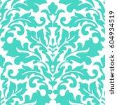 seamless damask pattern. blue... | Shutterstock .eps vector #604934519