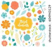 set of floral elements  ... | Shutterstock .eps vector #604943129