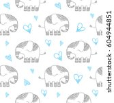 funny pattern with elephant and ... | Shutterstock .eps vector #604944851