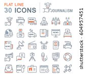 set vector line icons  sign and ... | Shutterstock .eps vector #604957451