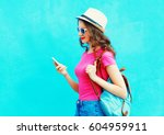 fashion smiling woman using... | Shutterstock . vector #604959911