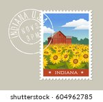 indiana postage stamp design.... | Shutterstock .eps vector #604962785