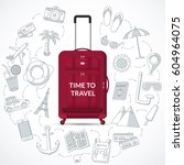 travel bag with the set of... | Shutterstock .eps vector #604964075
