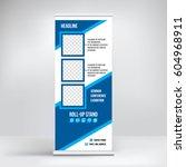 banner roll up vector  blue...   Shutterstock .eps vector #604968911