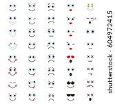 set of emoticons in trendy flat ... | Shutterstock .eps vector #604972415