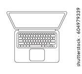 vector laptop top view. black... | Shutterstock .eps vector #604979339