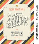 beautiful retro baby shower... | Shutterstock .eps vector #604984631