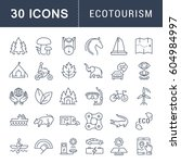 set  line icons in flat design... | Shutterstock . vector #604984997