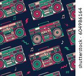 retro pop eighties boombox... | Shutterstock .eps vector #604986164