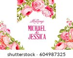 marriage invitation card.... | Shutterstock . vector #604987325