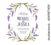 marriage invitation card with... | Shutterstock . vector #604987409