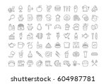 set  line icons drinks  meal... | Shutterstock . vector #604987781