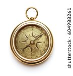 vintage compass on white... | Shutterstock . vector #604988261