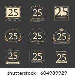 twenty five years anniversary... | Shutterstock .eps vector #604989929