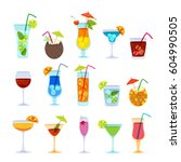 Tropical cocktails, juice, wine and champagne glass set. Vector hand drawn doodle illustration. Various isolated cocktail glass with beverages | Shutterstock vector #604990505
