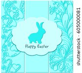 cute easter rabbit bunny on... | Shutterstock .eps vector #605000081
