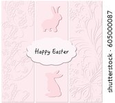 cute easter rabbits on pink... | Shutterstock .eps vector #605000087