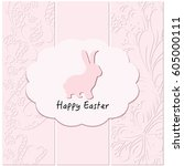 cute easter rabbit bunny on... | Shutterstock .eps vector #605000111