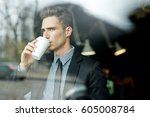waist up portrait of thoughtful ... | Shutterstock . vector #605008784