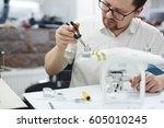 portrait of modern man working... | Shutterstock . vector #605010245