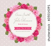 wedding invitation card  save... | Shutterstock .eps vector #605014391