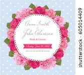wedding invitation card  save... | Shutterstock .eps vector #605014409