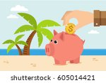 piggy bank on vacation at beach.... | Shutterstock .eps vector #605014421