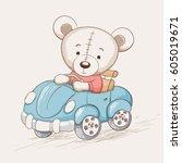 cute funny bear drive a car... | Shutterstock .eps vector #605019671